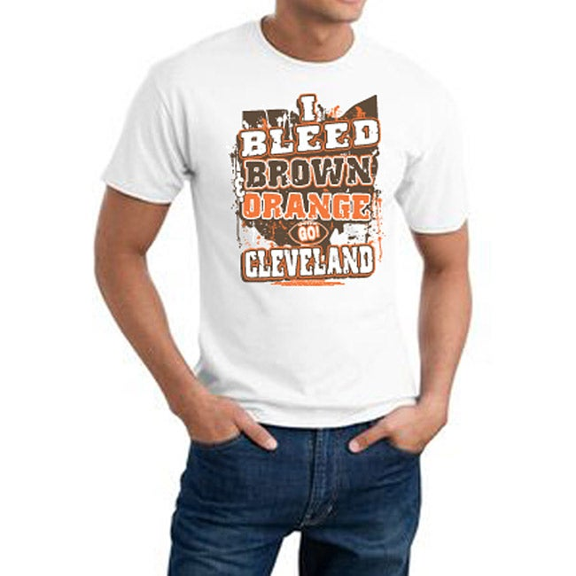 Cleveland Football 'I Bleed Brown and Orange' White Tee