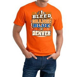 Men's Denver Broncos Football 'I Bleed Orange & Blue' Orange Cotton Tee