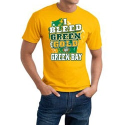 Men's Green Bay Packers Football 'I Bleed Green & Gold' Gold Cotton Tee