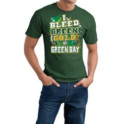 Men's Green Bay Packers Football 'I Bleed Green & Gold' Cotton Tee