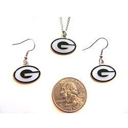 Green Bay Packers Necklace and Dangle Earring Charm Set