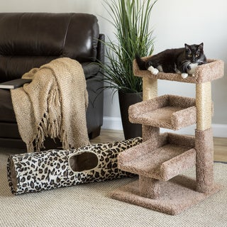 New Cat Condos 33-inch Triple Cat Perch with Kitty Cruiser Cat Tunnel