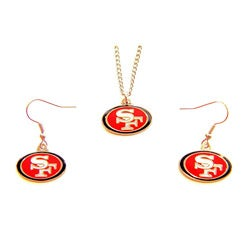 San Francisco 49ers Necklace and Dangle Earring Charm Set