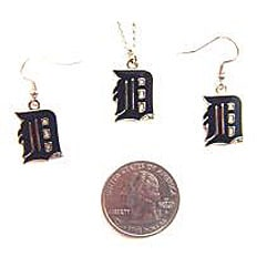 MLB Detroit Tigers Necklace and Dangle Earring Charm Set