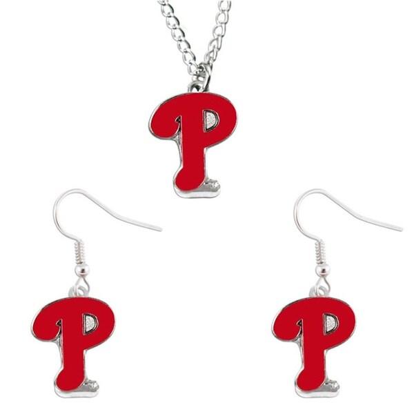 Philadelphia Phillies Necklace and Dangle Earring Charm Set