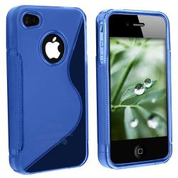 Clear/ Dark Blue 'S' Shape TPU Case for Apple iPhone 4