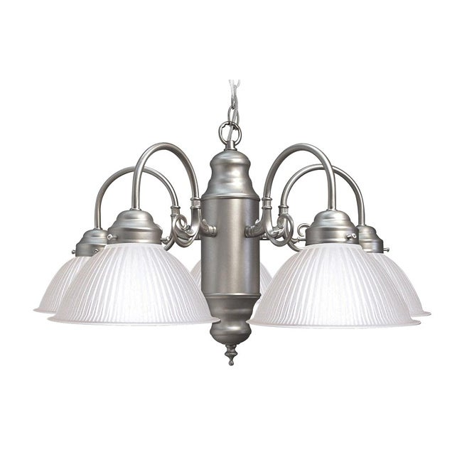 Woodbridge Lighting Basic 5-light Satin Nickel Prism Glass Chandelier