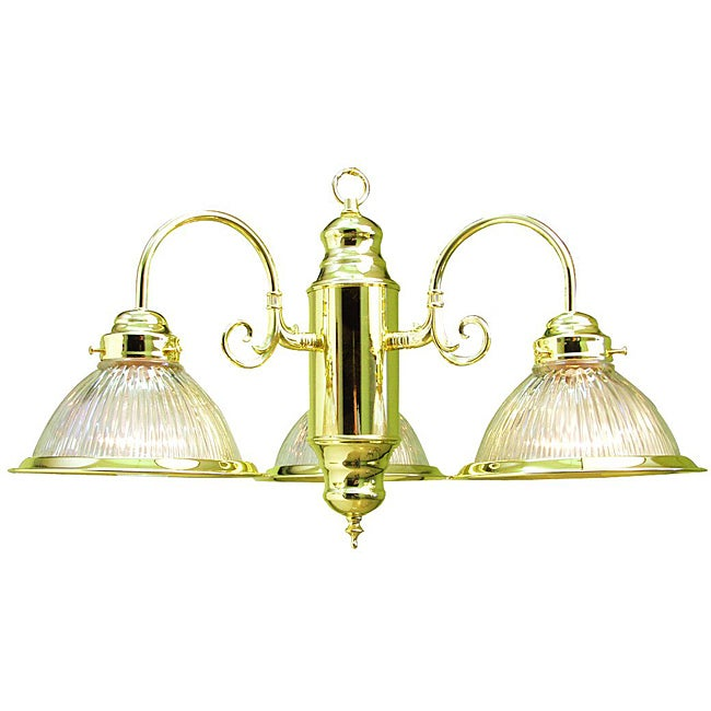 Woodbridge Lighting Contemporary Basic Three-Light Polished Brass Chandelier