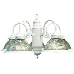 Woodbridge Lighting Basic 5-light White Prism Glass Chandelier