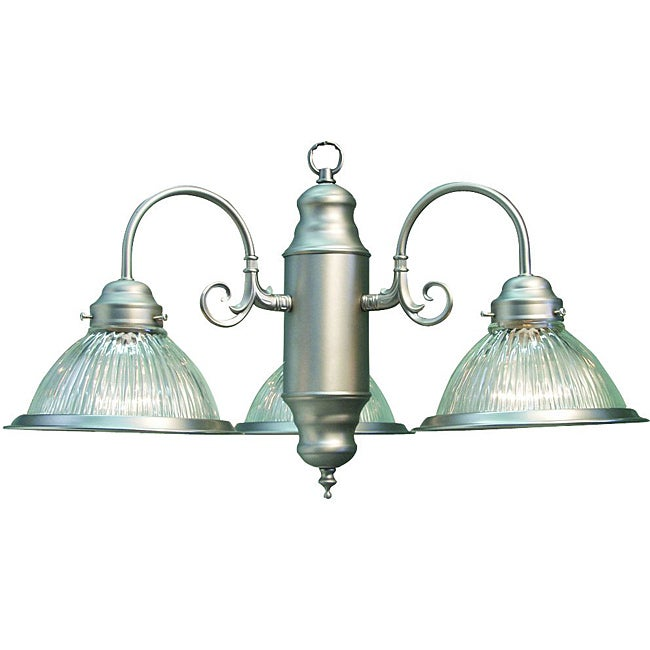 Glass Woodbridge Lighting Basic 3-Light Satin Nickel Chandelier