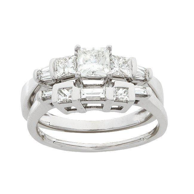 14k White Gold 1ct TDW Princess Diamond Bridal Ring Set (G-H, I1)