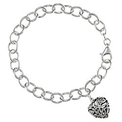 Sunstone Sterling-silver Bracelet with Filigreed Heart Charm