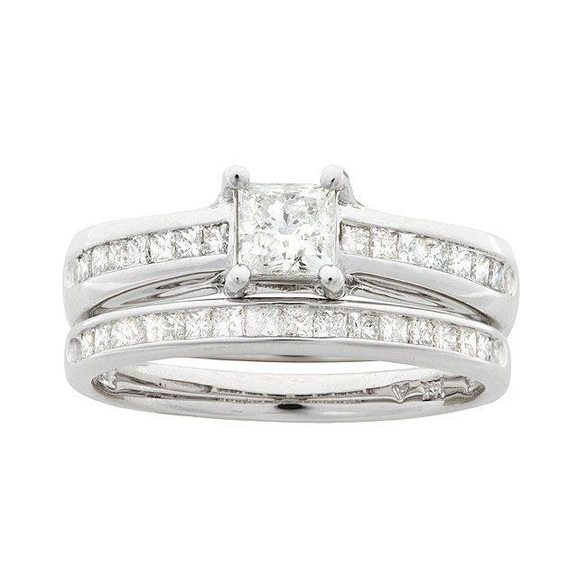 14k White Gold 1 1/10ct TDW Princess Diamond Bridal Ring Set (I-J, I1-I2)