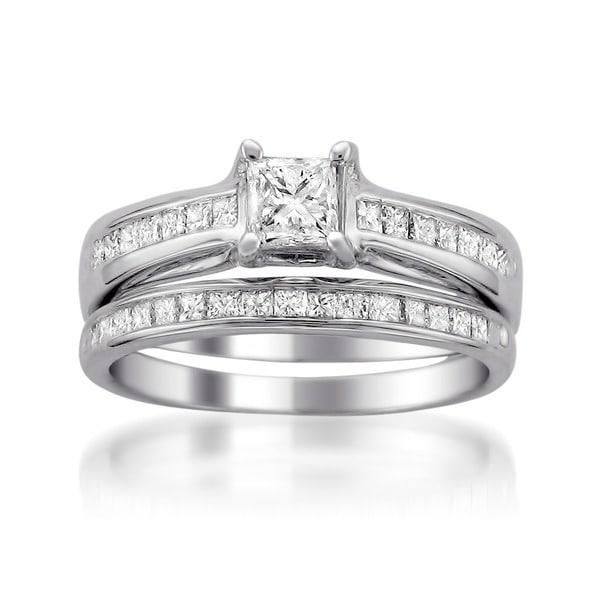 Montebello 14k White Gold 1 1/10ct TDW Princess Diamond Bridal Ring Set (I-J, I1-I2)