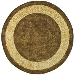 Safavieh Handmade Majestic Chocolate/ Light Gold N. Z. Wool Rug (8' Round)