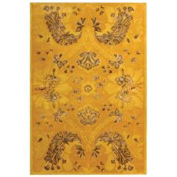 Handmade Silk Road Majestic Gold New Zealand Wool Rug (7'6 x 9'6)
