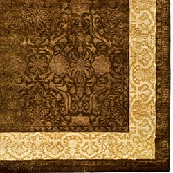 Safavieh Handmade Majestic Chocolate/Gold New Zealand Wool Rug (7'6 x 9'6)