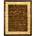 Handmade Majestic Chocolate/Gold New Zealand Wool Rug (7'6 x 9'6)
