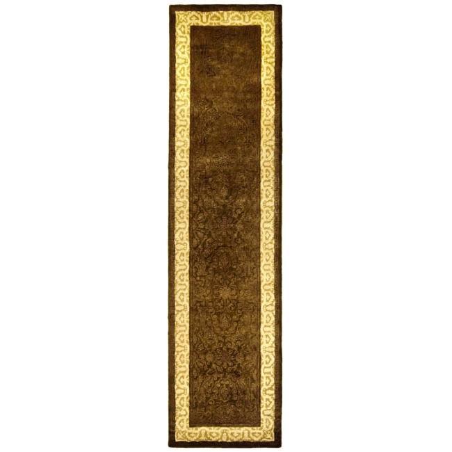 Safavieh Handmade Majestic Chocolate/ Light Gold N. Z. Wool Rug (2'6 x 12')