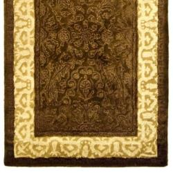 Handmade Majestic Chocolate/ Light Gold N. Z. Wool Rug (2'6 x 12')