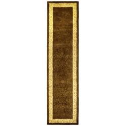 Handmade Majestic Chocolate/ Light Gold N. Z. Wool Rug (2'6 x 12')