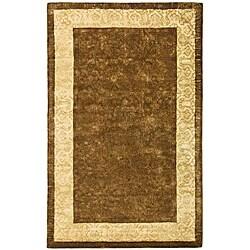 Safavieh Handmade Majestic Chocolate/ Light Gold N. Z. Wool Rug (5' x 8')