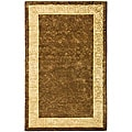 Handmade Majestic Chocolate/ Light Gold N. Z. Wool Rug (5' x 8')