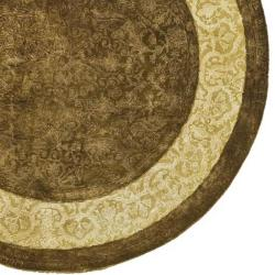 Handmade Majestic Chocolate/ Light Gold N. Z. Wool Rug (6' Round)
