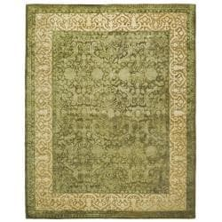 Handmade Silk Road Majestic Green N.Z. Wool Rug (9'6 x 13'6)