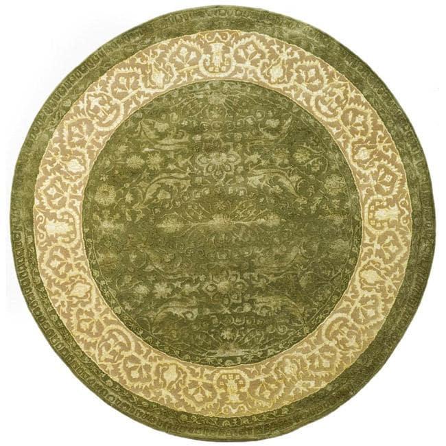 Safavieh Handmade Majestic Green/ Ivory N. Z. Wool Rug (3'6 Round)