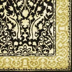 Handmade Silk Road Majestic Black/ Ivory N. Z. Wool Rug (4' x 6')