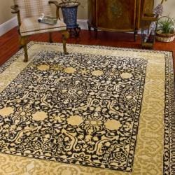 Handmade Silk Road Majestic Black N.Z. Wool Rug (9'6 x 13'6)