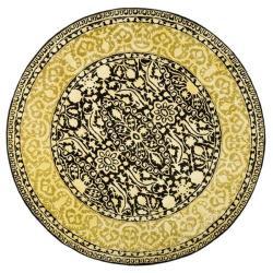Safavieh Handmade Majestic Black/ Ivory N. Z. Wool Rug (3'6 Round)