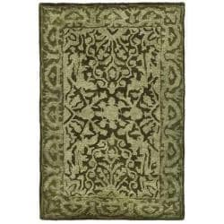 Handmade Silk Road Majestic Sage New Zealand Wool Rug (2' x 3')
