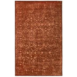 Handmade Silk Road Majestic Rust New Zealand Wool Rug (4' x 6')