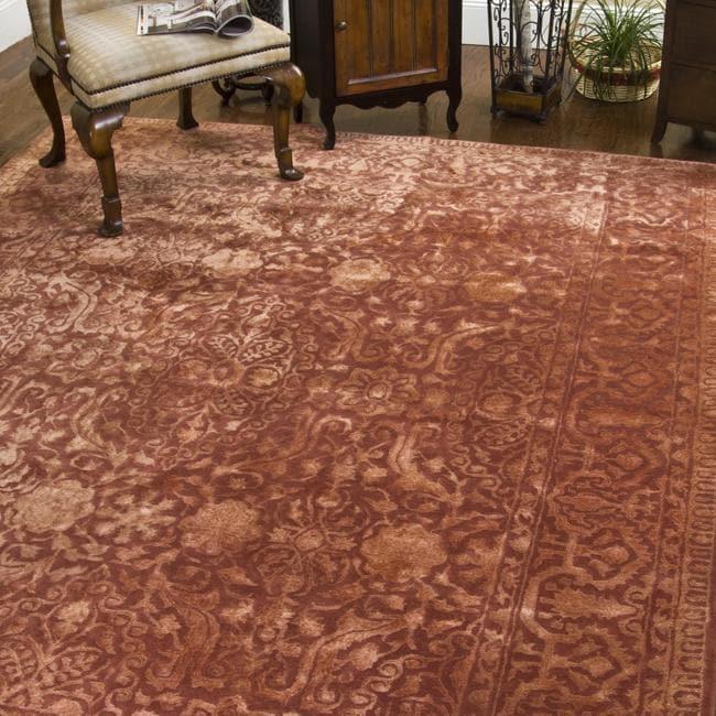 Safavieh Hand-made Rust New Zealand Wool Rug (7'6 x 9'6)