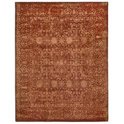 Handmade Silk Road Majestic Rust New Zealand Wool Rug (8'3 x 11')
