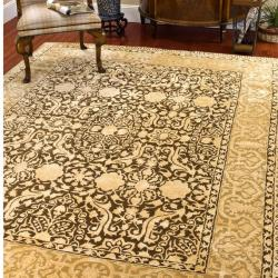 Handmade Silk Road Majestic Brown N.Z. Wool Rug (9'6 x 13'6)
