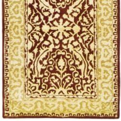 Handmade Silk Road Majestic Maroon N.Z. Wool Rug (2'6 x 12')