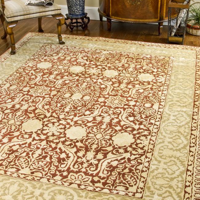 Safavieh Handmade Majestic Maroon/ Ivory N. Z. Wool Rug (9'6 x 13'6)