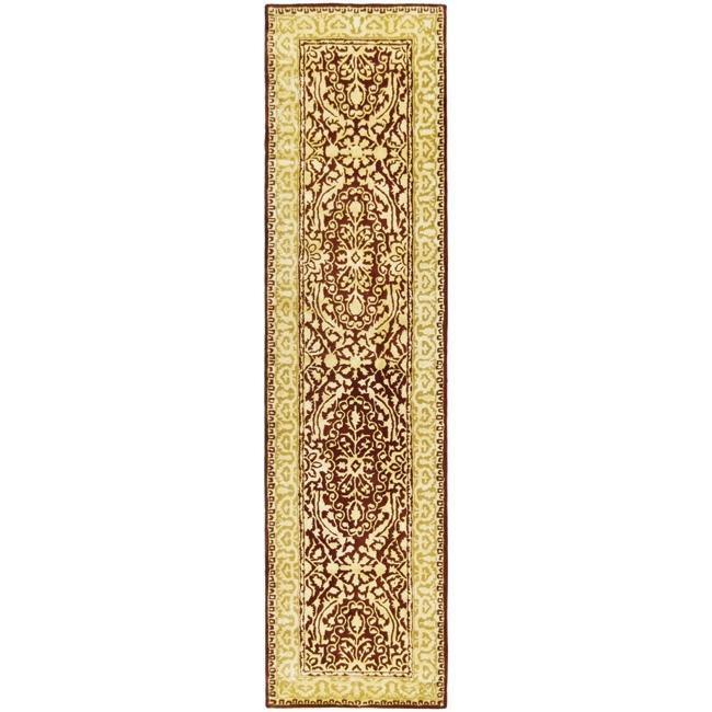 Safavieh Handmade Silk Road Majestic Maroon N.Z. Wool Rug (2'6 x 10')