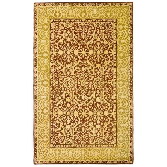 Safavieh Handmade Majestic Maroon/ Ivory N. Z. Wool Rug (4' x 6')