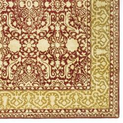 Handmade Silk Road Majestic Maroon N.Z. Wool Rug (8'3 x 11')