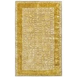 Handmade Majestic Beige/ Light Gold N. Z. Wool Rug (2'6 x 4')
