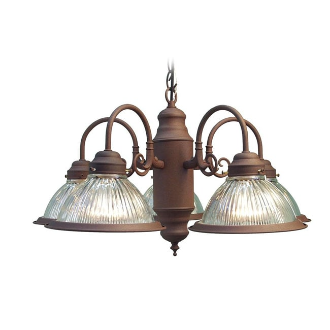 Woodbridge Lighting Basic 5-light Antique Bronze Prism Glass Chandelier