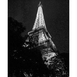 Stewart Parr 'Paris - Eiffel Tower - night BW' Cityscape Unframed Photo Print