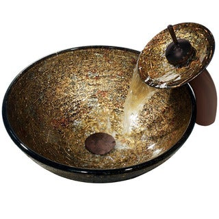 Vigo Textured Copper Vessel Sink and Waterfall Faucet