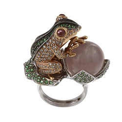 18k Gold 2 1/4ct TDW Diamond, Tsavorite and Tourmaline Frog Estate Ring (I-J, SI1-SI2)