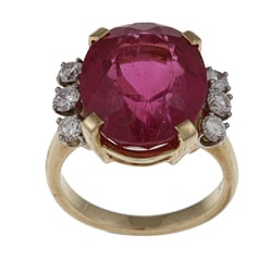 14k Yellow Gold 2/5ct TDW Diamond and Rubellite Estate Ring (J-K, SI1-SI2)