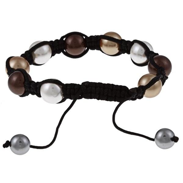 La Preciosa Created Shell Pearl Bead Black Macrame Bracelet
